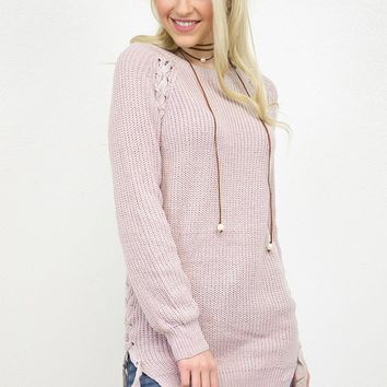 Lace Up Side Pullover Sweater