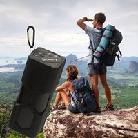 PYRUS Outdoor Bluetooth Speaker 3600mAh Portable Power Bank Wireless Speakers, Bluetooth 4.0 with NFC, 2x3W Stereo Bass Sound Built-in Microphone- Black
