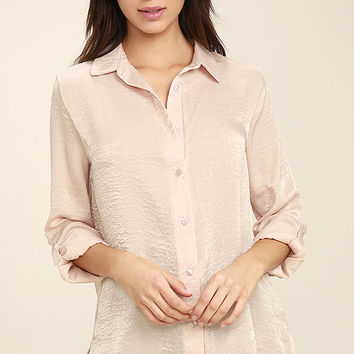 Boss Lady Light Peach Satin Button-Up Top