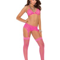 Stretch lace halter bra, garter belt and g-string with satin bow  detail  Neon Pink