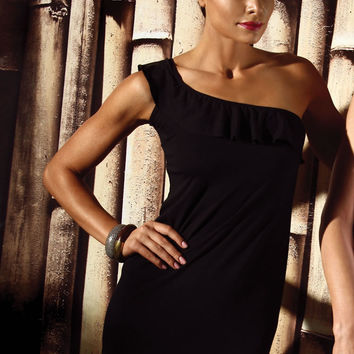 One Shoulder Black Dress- Final Sale