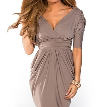 Mai Taupe Batwing Sleeve V Neck Draped Party Dress