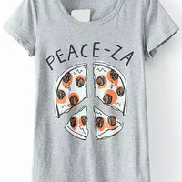 Pizza Print Loose Fitting Grey T-shirt