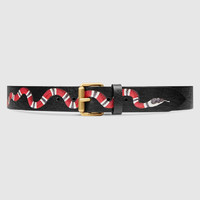 Gucci Black Leather belt with Snake
