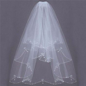 2 Layers Bride Beaded Edge Pearl White Ivory Bridal Wedding Veil With Comb