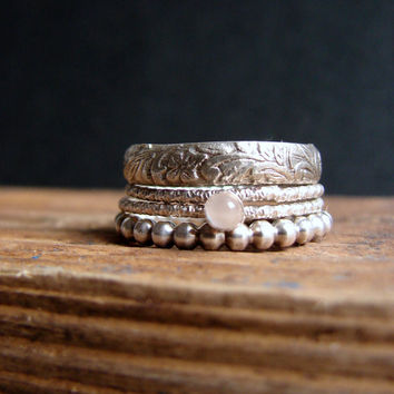 Moonstone Gemstone Stack Rings Everyday Jewelry Stacking Rings Antique Floral Band Ring June Birthstone Ring