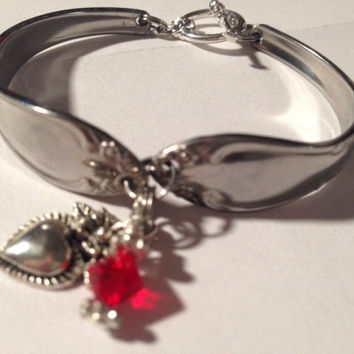 Stainless Steel Spoon/Silverware/Flatware Bracelet With Red Crystal Bangle and Heart Charm