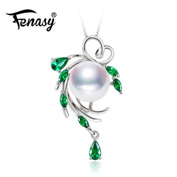 New 925 sterling silver necklace pearl jewelry statement necklace for women