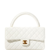 Vintage Chanel White Leather Handle Bag From What Goes Around Comes Around by Vintage Chanel from What Goes Around Comes Around - Moda Operandi