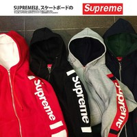 Supreme Unisex Casual Patchwork Hoodies Hip-hop Hats Jacket [11555860492]