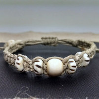 Adjustable Unisex Bone Beaded Hemp Bracelet