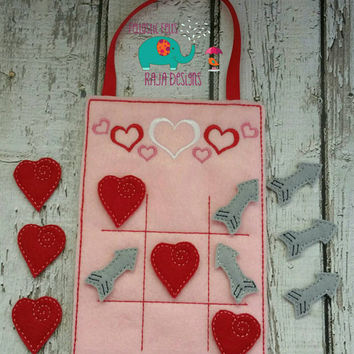 Valentine tic tac toe embroidered, valentines day, board game, game, classic game, childrens, kids, hugs kisses, toy, quiet game, play set