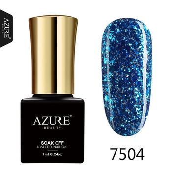 AZURE BEAUTY Glitter Gel Nail Polish Gorgeous Colors UV Gel Led Nail Polish Lacquer Blue Diamond Azure Nail Gel Polish