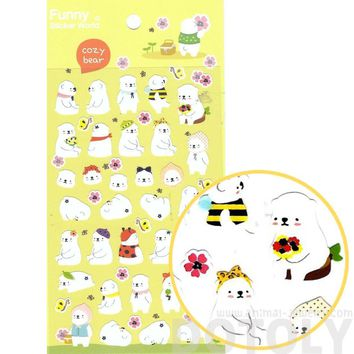 Cute Polar Bear Shaped Animal Themed Illustrated Stickers for Scrapbooking