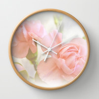 Soft pink carnations Wall Clock by Shalisa Photography