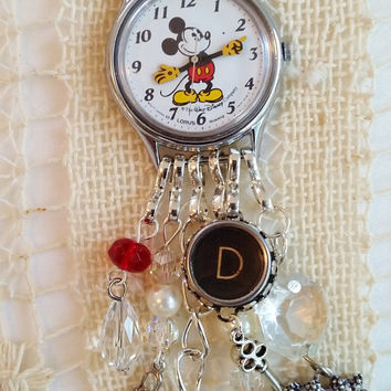 Silver Mickey Mouse Watch Necklace, Mickey Mouse Charm Necklace, Walt Disney Watch, Letter D Typewriter Key, 24 Inch Chain, Disney Necklace