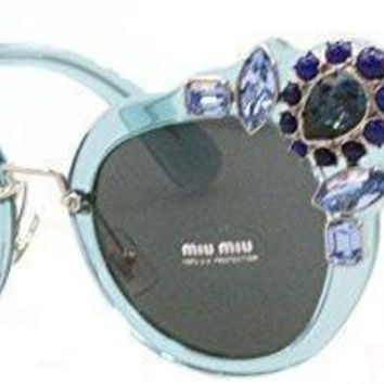 Miu Miu Mu04ss Vaa1a1 Transparent Azure Mu04ss Cats Eyes Sunglasses Lens Catego