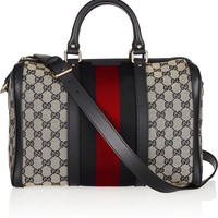 Gucci - Vintage Web leather-trimmed monogrammed canvas tote