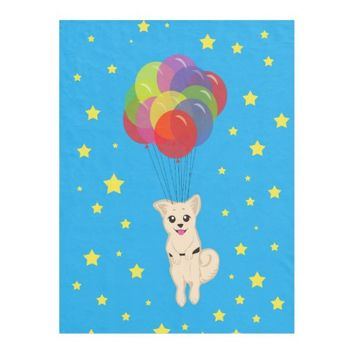 Puppy with Balloons Fleece Blanket