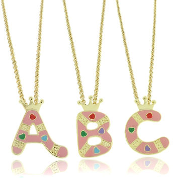 Molly and Emma 18k Gold overlay Enamel Heart Design Children's Initial Pendant | Overstock.com Shopping - The Best Deals on Children's Necklaces