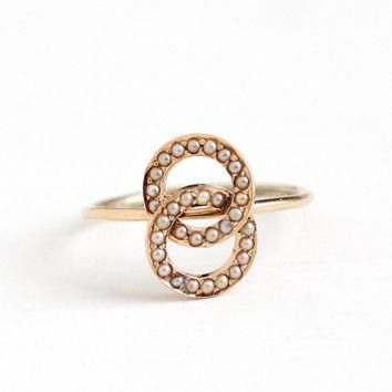 Antique 14k Rosy Yellow Gold Seed Pearl Love Knot Ring - Victorian Size 6 1/4 1800s Fi