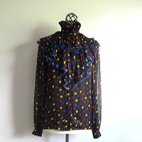 Vintage Wayne Clark Blouse 1980s Black Polka Dot Primary Color Silk Ruffle Top 6 Small