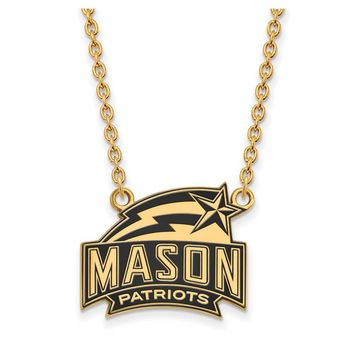 NCAA 14k Gold Plated Silver George Mason U Lg Enamel Pendant Necklace