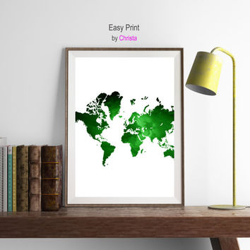 Green map print, World map art, World map printable art, Travel art, Travel poster, World map art, Wall decor,  Continents, Instant download
