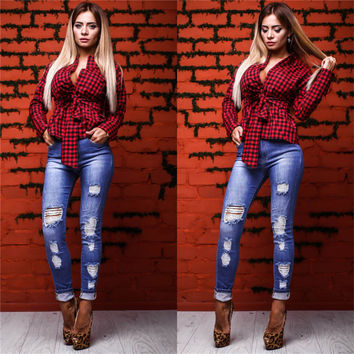 2017 Spring Summer Women Blouses Fashion Plaid Sexy Blouse With Bow Long Sleeve Causal Elegant Cute Women Tops Shirts Blusas