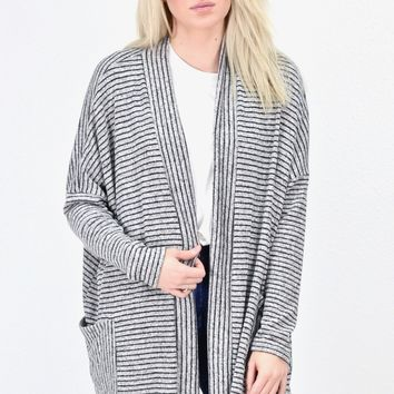 Brushed Hacci Striped Cardigan w/ Pockets {Black}
