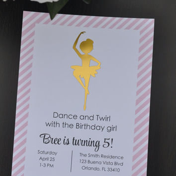 Gold Ballerina Birthday Party Invitations with Foil Design