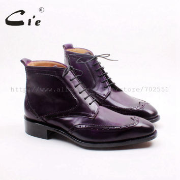 Square toe wingtip lace-up calf leather boot bespoke handmade genuine leather purple men's boots