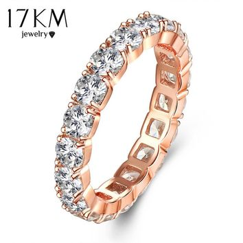 17KM Rose Gold Color Clear Crystal Hollow Out Mid Rings For Women Luxury Romantic Party Wedding Ring Jewelry