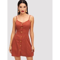 Button Up Front Cami Dress Rust