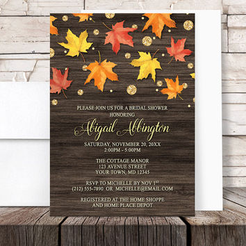 Autumn Bridal Shower Invitations - Rustic Falling Leaves with Gold - Wood Gold Glitter-illustrated design Fall - Printed Invitations