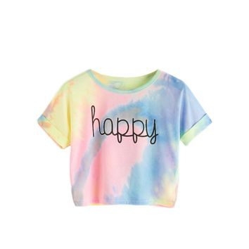 Tie Dye T-Shirt - Happy Rainbow Crop Top