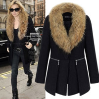 Plus Size Women's Fashion Long Sleeve Coat [9405061252]
