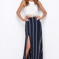 Line All Mine Ivory and Navy Blue Striped Maxi Skirt
