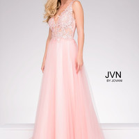 JVN by Jovani Lace Bodice Full Skirt Dress- Blush