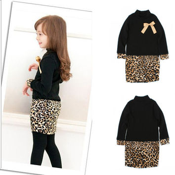 Princess Kids Baby Girls Long Sleeve One Piece Dress Bow Leopard Costume New SM6