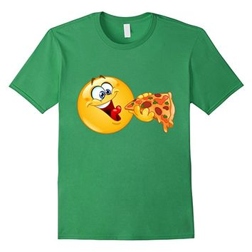 Emoji Shirt Emoticon Eating Pizza - Pizza Emoji