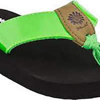 Yellow Box Girl's Valera 2 Green Flip Flops