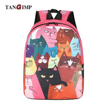 TANGIMP Cute Canvas Backpacks Funny Mona Lisa Cats Design Novelty Special Kitty Large Cool Travel School Bags for Teenage Girls
