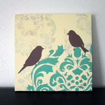 Damask Birds Painting,  French Country, Damask Wall Decor Art, Cottage Chic Shabby, 12x12 inch original acrylic