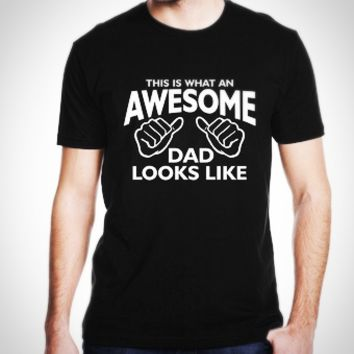Summer Comfy Awesome MOM DAD Letter Print Funny Cotton Short Sleeve T Shirt for Couples Lovers Valentine Xmas Gift Present [10312512067]