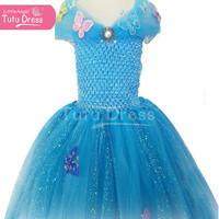 Handmade Inspired by Princess Cinderella Floor Length Sparkly Blue Butterfly Dress, Birthday Party, Flower Girl Age 3 4 5 6 7 8 9 10 11
