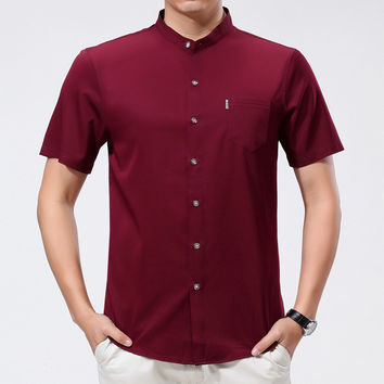Summer Men's Fashion Shirt Men Short Sleeve Blouse [6542520579]