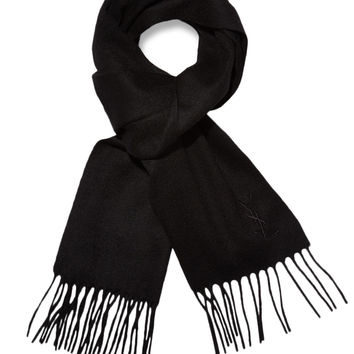 Yves Saint Laurent Men's Wool Embroidered Logo Fringed Scarf - Black