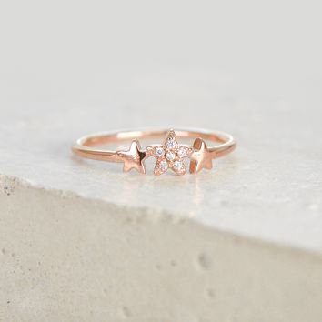 3 Star Ring - Rose Gold