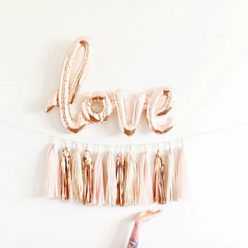 Valentines Day Decor - Rose Gold Love Balloon Banner - Blush and Rose Gold Wedding Decor, Bachelorette Party,  Dessert Table, Engagement